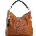 25aa34be83b7 Talianska shopperka kožená kabelka veľká na plece a do ruky hnedá Alessa