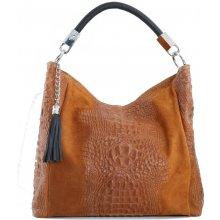bf55dce6ce75 Talianska shopperka kožená kabelka veľká na plece a do ruky hnedá Alessa