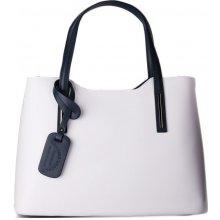 760c57758e5 talianska kožená kabelka na rameno bielomodrá Carina veľká