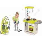 Smoby Set kuchynka elektronická Cherry so zvukmi+upratovací vozík s vysávačom 310908-1