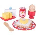 Bigjigs Dřevěný set snídaně s puntíky