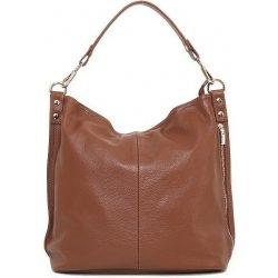 Talianska veľká kožená kabelka na plece vrecovitá hnedá Ludmila ... d6bf746374a