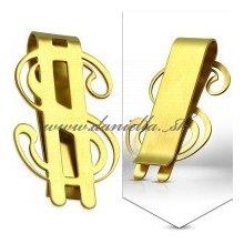 Spona na peniaze,chirurgická oceľ, zlatý odtieň nerezová...