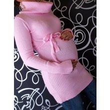 Tehotenská roláková tunika s opaskom sv. ružová