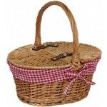 Willow Direct Dětský proutěný košík - hnědý oválný - červenobílá vsadka