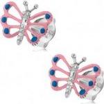 53aa3d043 Šperky eshop Patinované náušnice striebro motýlik so svetloružovými  krídlami výrezy PC03.40