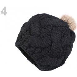 920fff1e5 Dámska zimná čiapka s pravým kožušinovým brmbolcom čierna 12ks ...