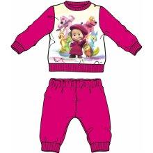 Disney by Arnetta Dievčenské pyžamo Máša a Medveď tmavo ružová