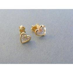 70dade76d MARM Design zlaté dámske náušnice srdiečka napichovačky žlté zlato kamienky  DA100Z