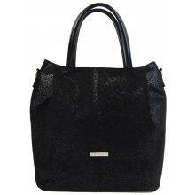 Grosso Veľká elegantná dámska shopper kabelka S737 čierna trblietavá e4ea42808e8