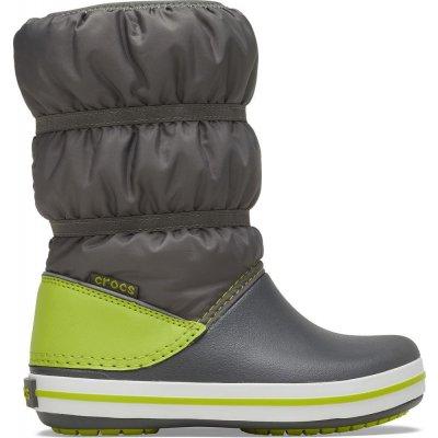 Crocs chlapčenské snehule Crocband Winter Boot K Slate Grey/Lime Punch 206550-0GX sivá 27-28