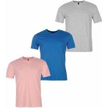 Donnay Three Pack V Neck T Shirt Mens Pink/Blue/GreyM