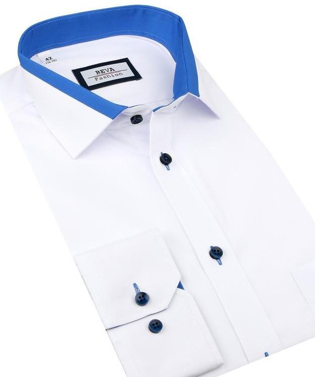 99693d7cc25b Pánska košeľa Beva Slim Obleková bielo - modrá košeľa 2T139 ...