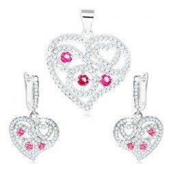 c298b0666 Šperky eshop sada strieborné náušnice a prívesok číre srdce špirály, ružové  zirkóny S19.25