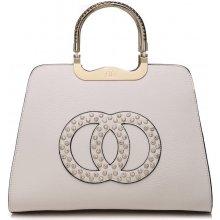 c218376cf5 Moda Handbag módní kabelka s ozdobnými kruhy K2628 béžová
