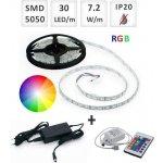 Optonica Sada: 5m RGB LED pásik do interieru 30 SMD5050/m, 7.2W/m, IP20 + zdroj + RGB ovládač 24 tlač.