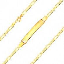 651445567 Šperky eshop náramok zo žltého zlata tri oválne očká a jedno podlhovasté  GG25.12