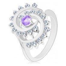 c699098ef Šperky eshop Ligotavý prsteň s ozdobnou špirálou s čírym lemom  svetlofialový zirkón V03.12