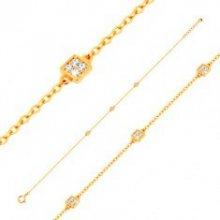 6de5bd425 Šperky eshop zlatý náramok s oválnymi očkami a tromi ligotavými štvorčekmi  GG137.17