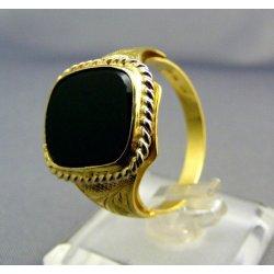 Zlatý pánsky prsteň žlté zlato s čiernym kameňom VP67608 alternatívy ... 0448b71ed47