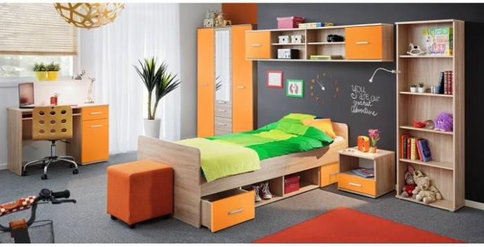 cd5d6c2c0184 TEMPO KONDELA EMIO detská izba dub sonoma oranžová alternatívy - Heureka.sk