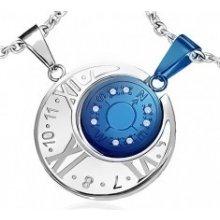 Prívesky pre dvoch - modrý kompas a strieborné hodiny R13.17