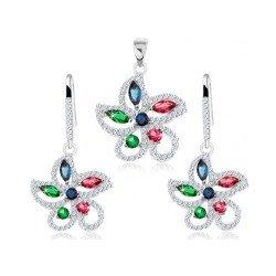 64abcd170 Šperky eshop Strieborný set, prívesok a náušnice kvietok zdobený farebnými  zirkónmi S40.25