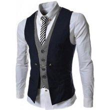 Dvojitá pánska vesta ku obleku modrá