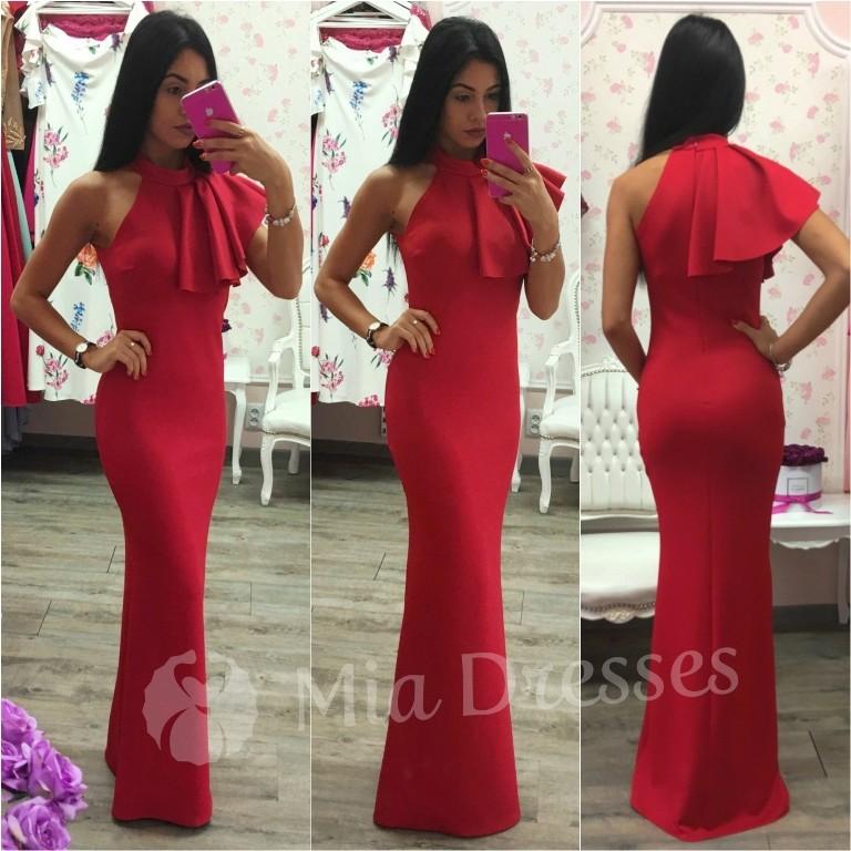 83665f35c483 Spoločenské šaty s volánom červená