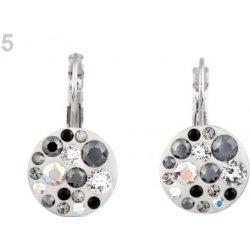 Evolution Group náušnice bižutéria so Swarovski kryštálmi šedé okrúhle  51035.3 ae8ebe998eb