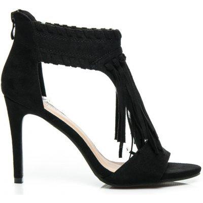 Semišové dámske sandále so strapcami čierne