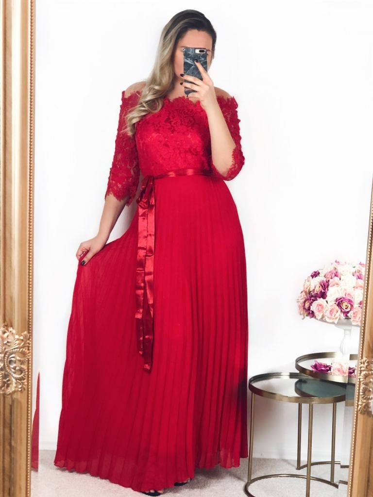 599252351a15 Dámske šaty Červené spoločenské šaty s čipkovaným vrchom ...