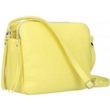 99cb8c6c66 kožená kabelka na rameno 5313 citrónovo žltá