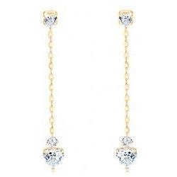Šperky eshop visiace náušnice zo žltého zlata číre zirkónové srdiečka  retiazka GG103.09 a45110df208
