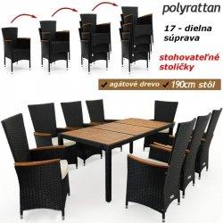 43bba173070f Poly Ratanová záhradná jedálenská súprava Madrid 8 stoličiek a stôl Deuba