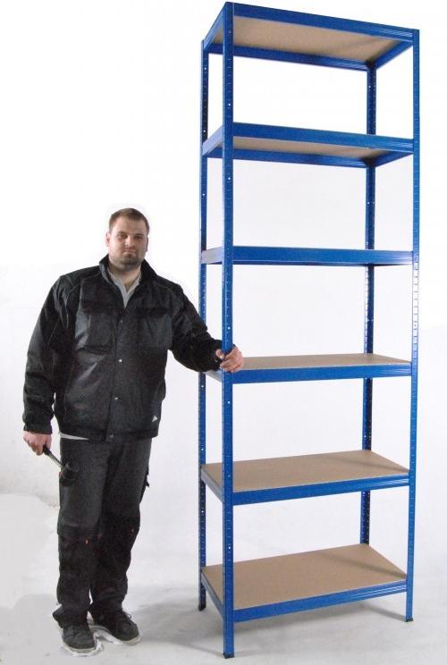 biedrax kovov reg l do bytu 50 x 75 x 270 cm 6 polic x 175kg modr foto 1. Black Bedroom Furniture Sets. Home Design Ideas