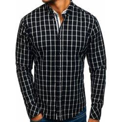 43f306bbe5d9 Čierna pánska károvaná košeľa s dlhými rukávmi Bolf 8825 od 21