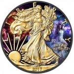 Us Eagle 1 oz zverokruh PANNA pozláetná kolorovaná strieborná minca