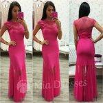 Cyklaménové šaty so sieťkou zdobenou kvietkami 4ed5b50306