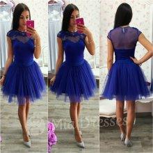 Dámska krátka tylová tutu sukňa modrá
