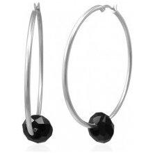 22e03761b Šperky eshop oceľové náušnice veľké kruhy striebornej farby s čiernou  brúsenou korálkou X09.11
