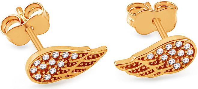 8003b3947 iZlato Design zlaté napichovacie náušnice so zirkónmi Anjelské krídla  IZ13451I
