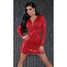 Spoločenské šaty krátke s flitrami - červená