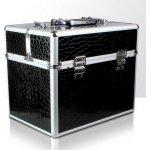 Aspira Kozmetický kufrík XL čierny, vzor krokodíl 35x24x29