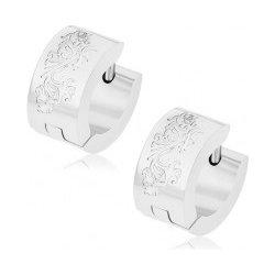 14352f694 Šperky eshop lesklé kĺbové náušnice chirurgická oceľ, strieborná  gravírované čiarky Z41.10