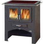 ABX Kuchynský sporák na drevo sa sklokeram. doskou bez rúry 3020 C, čierny plech