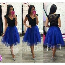 Dámska midi tylová tutu sukňa modrá