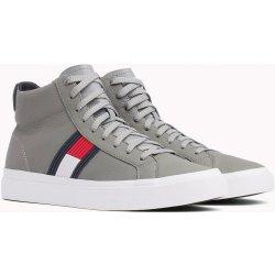 61fc4d0452 Tommy Hilfiger sivé kožené unisex tenisky Flag Detail High Leather Sneaker  Light Grey