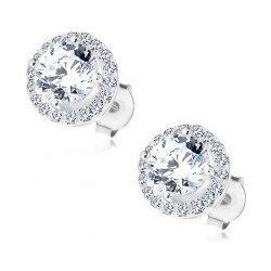 6865052ee Šperky eshop Puzetové náušnice striebro trblietavý okrúhly zirkón s čírym  lemom AC24.29