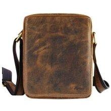 Mercucio Stredná kožená pánska taška hnedá